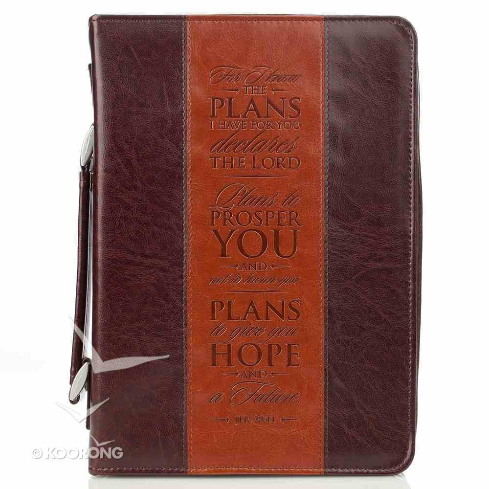 Bible Cover Classic Medium: I Know the Plans Jer. 29:11 Dark Brown/Brown Bible Cover