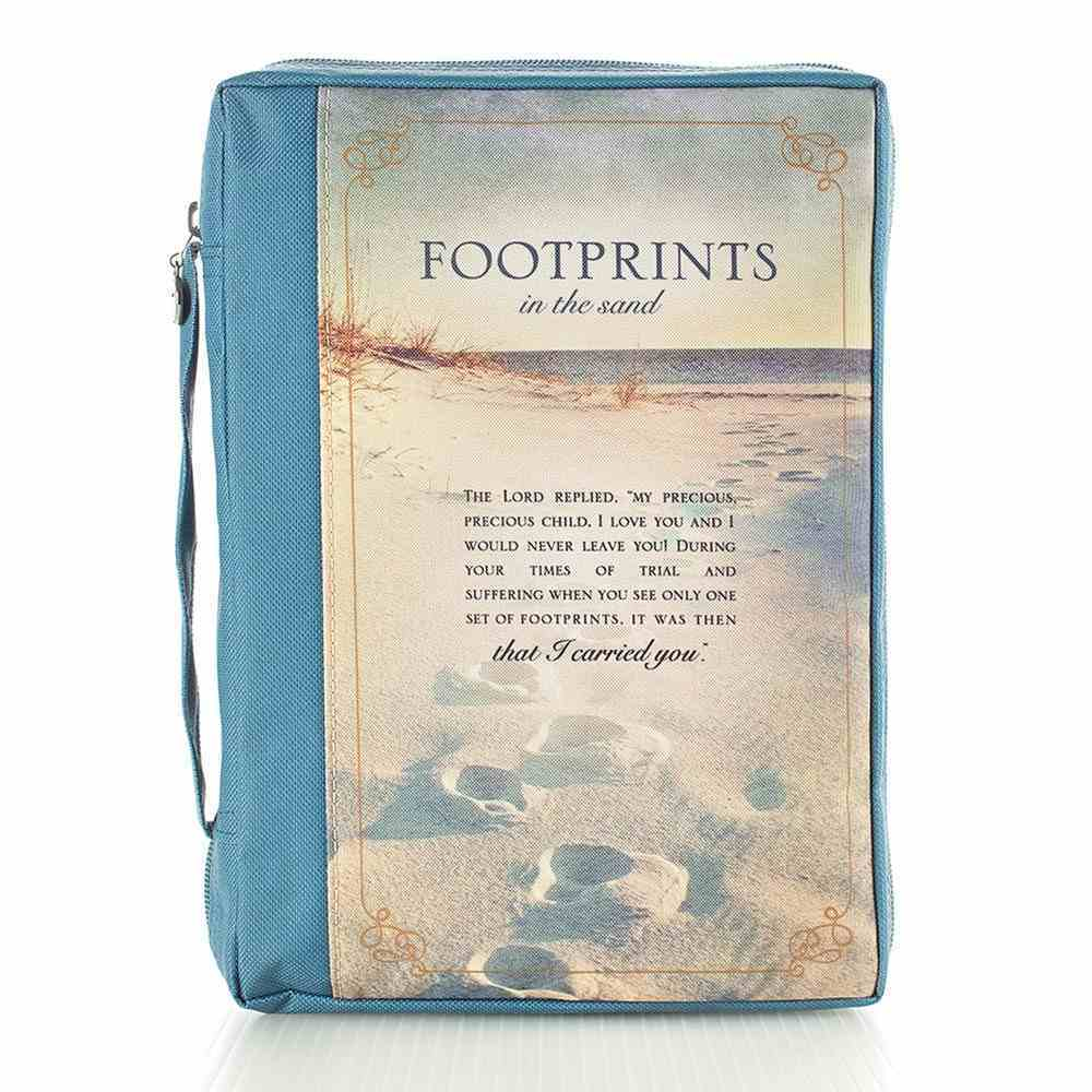 Bible Cover Polyester Medium: Footprints in the Sand/ Navy/Picture Bible Cover