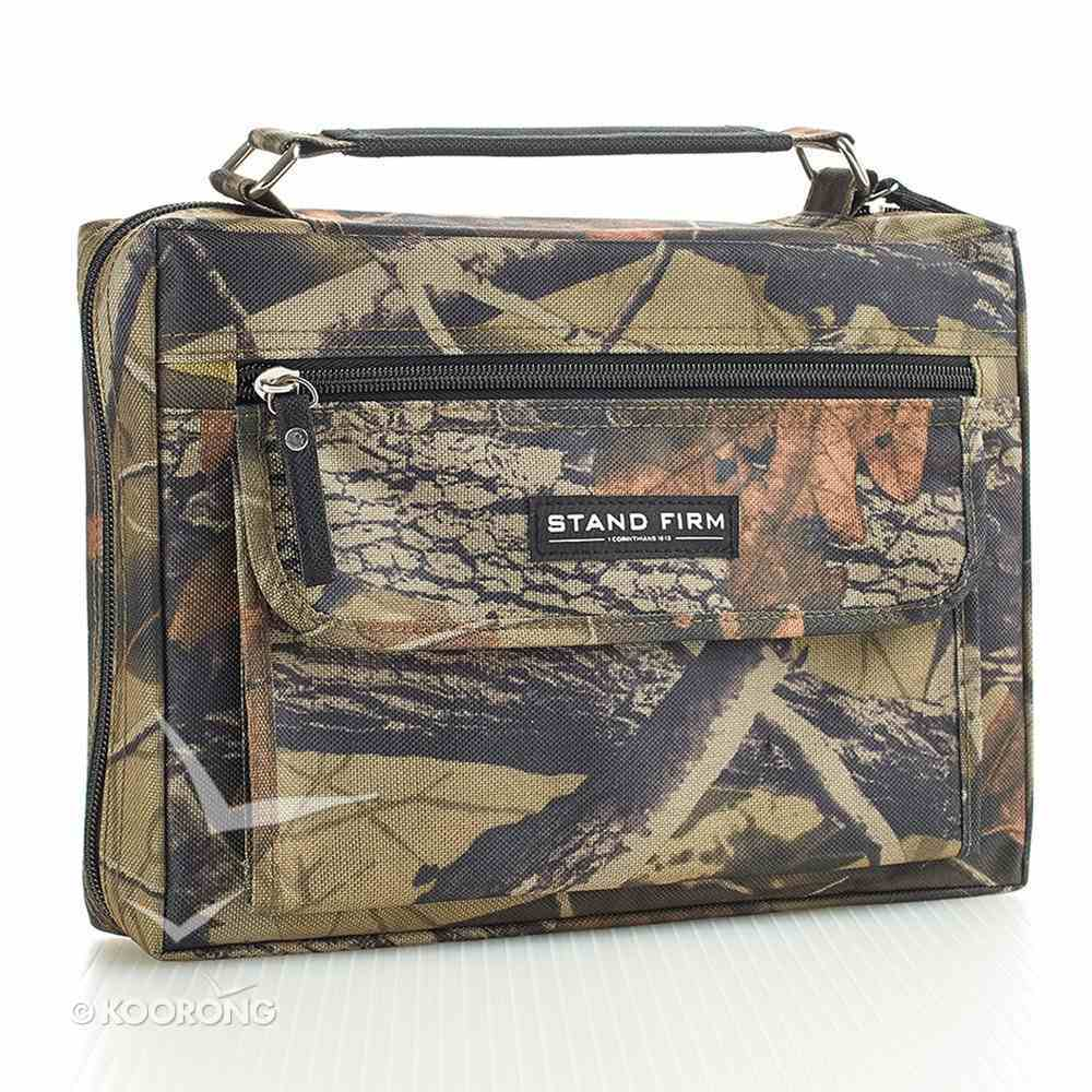 Bible Cover Value Large: Stand Firm 1 Cor. 16:13 Camo Canvas Bible Cover