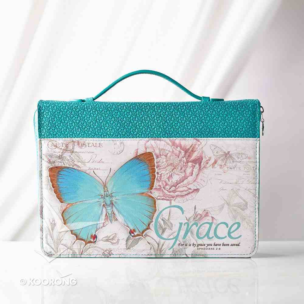 Bible Cover Large: Grace Eph. 2:8 Butterfly Blue/Green Fashion Trendy Luxleather Bible Cover