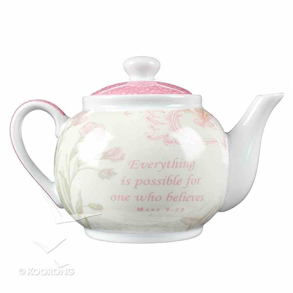 Ceramic Teapot: Believe Butterfly/Pink Homeware