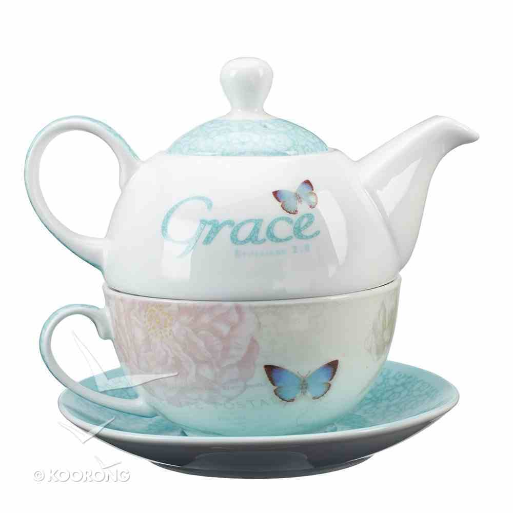Ceramic Teapot & Colored Saucer: Grace Butterfly White/Green/Blue Homeware