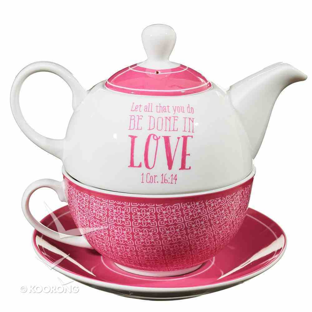 Ceramic Teapot & Colored Saucer: It Takes a Big Heart to Shape Little Minds White/Dark Pink Homeware