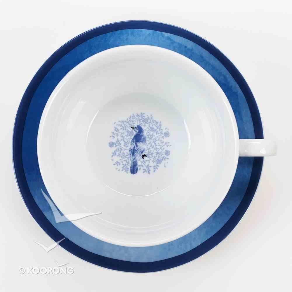 Ceramic Teapot & Colored Saucer: Bluebird White/Blue Homeware