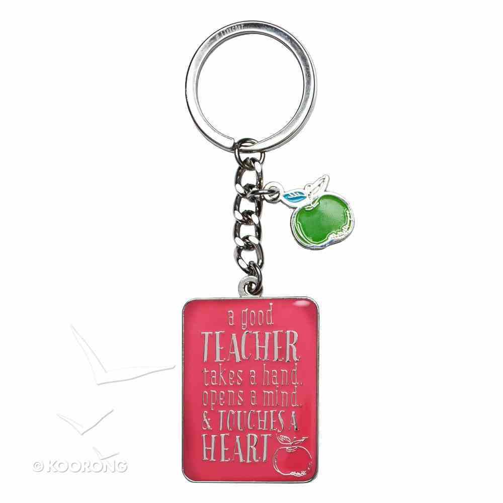 Metal Keyring in Tin: Teacher, Pink/Green Apple (1 Cor 16:14) Novelty