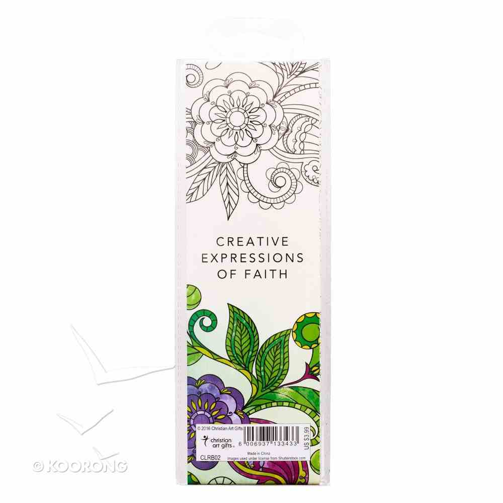 Bookmark: Adult Coloring Double Sided: Includes Scripture, Green (Set Of 5) Stationery