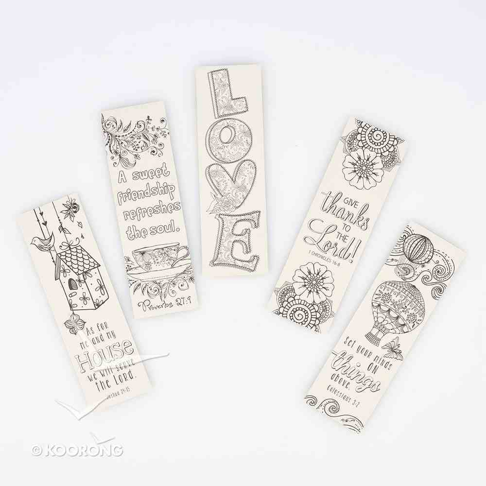 Bookmark: Adult Coloring Double Sided: Includes Scripture, Red (Set Of 5) Stationery