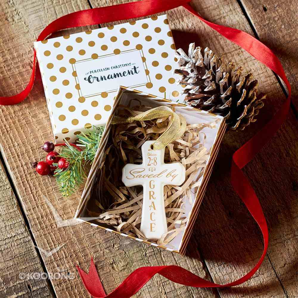 Porcelain Cross Ornament: Saved By Grace (White With Gold Lettering) Homeware