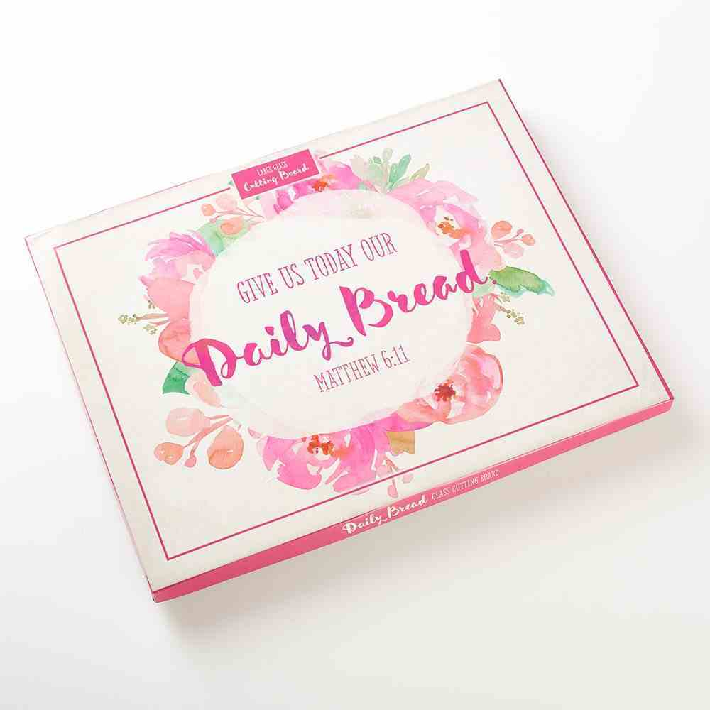 Large Glass Cutting Board: Give Us Today Our Daily Bread (Colored Pink Wreath) Homeware