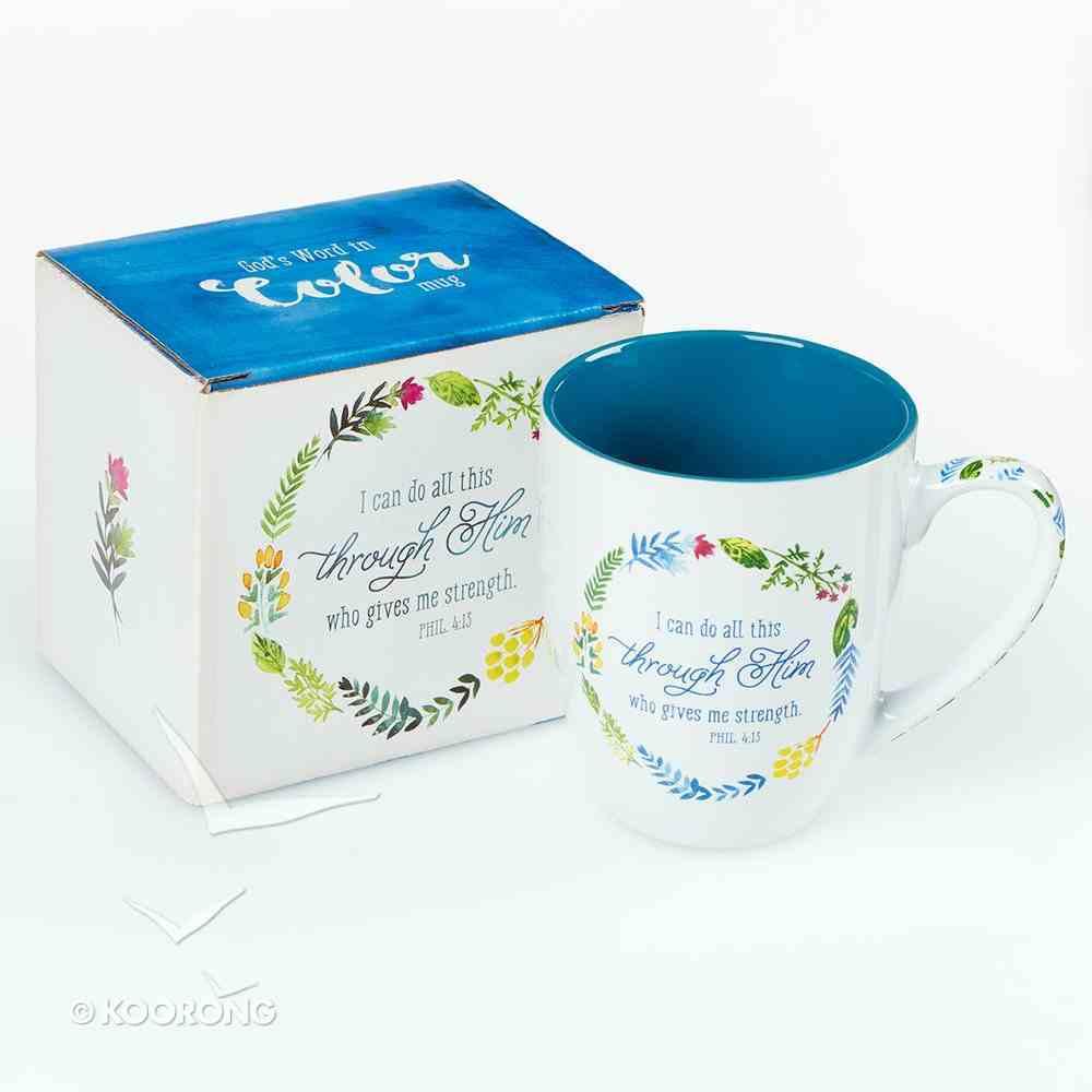 Ceramic Mug: I Can Do All Things... (Colored Wreath), Blue/White (444ml) Homeware