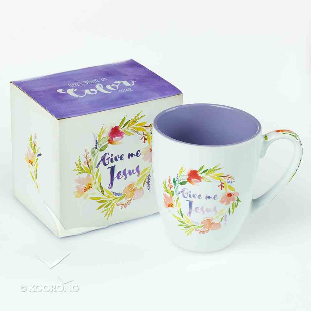 Ceramic Mug: Give Me Jesus (Colored Wreath) Purple/White (444ml) Homeware