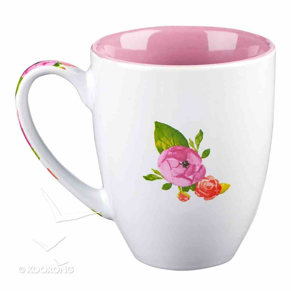 Stoneware Mug: His Name Will Be the Hope... Dusky Pink/White (Colored Wreath) Homeware