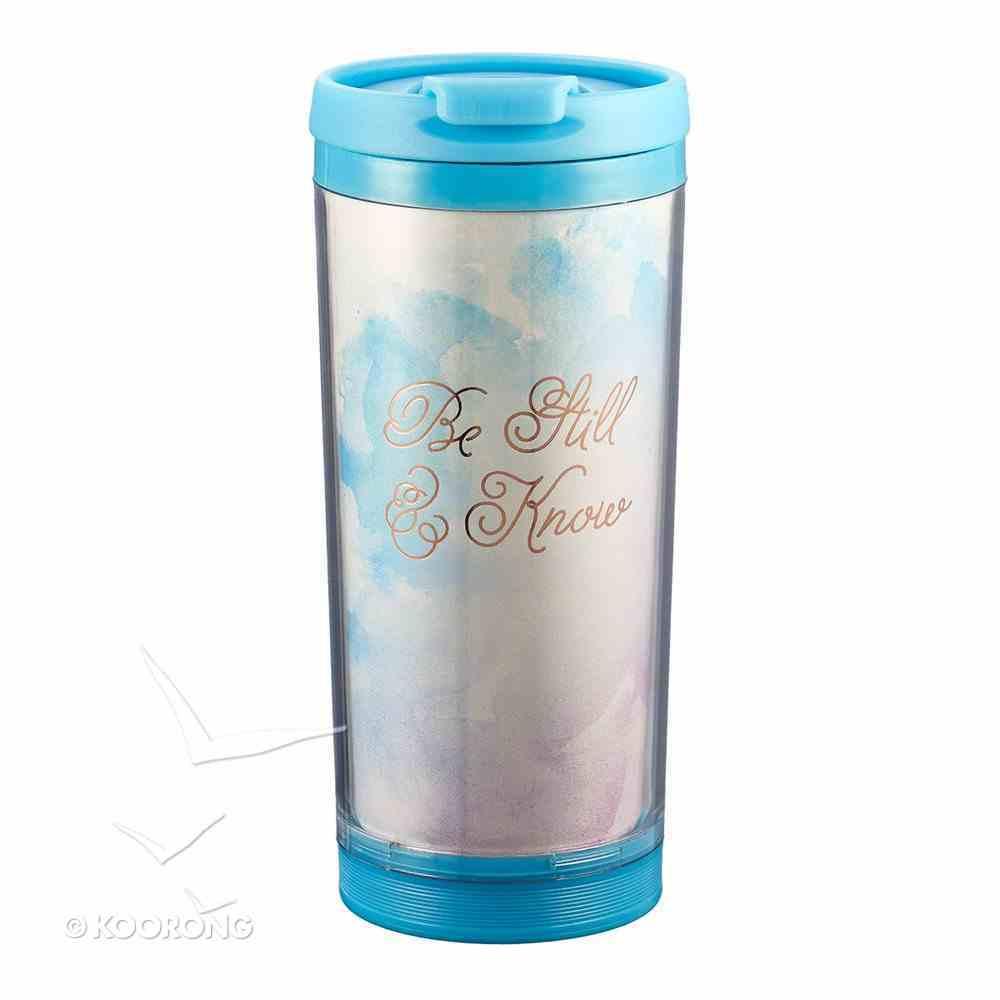 Polymer Mug With Design Insert: Be Still & Know (Light Blue/gold) Homeware