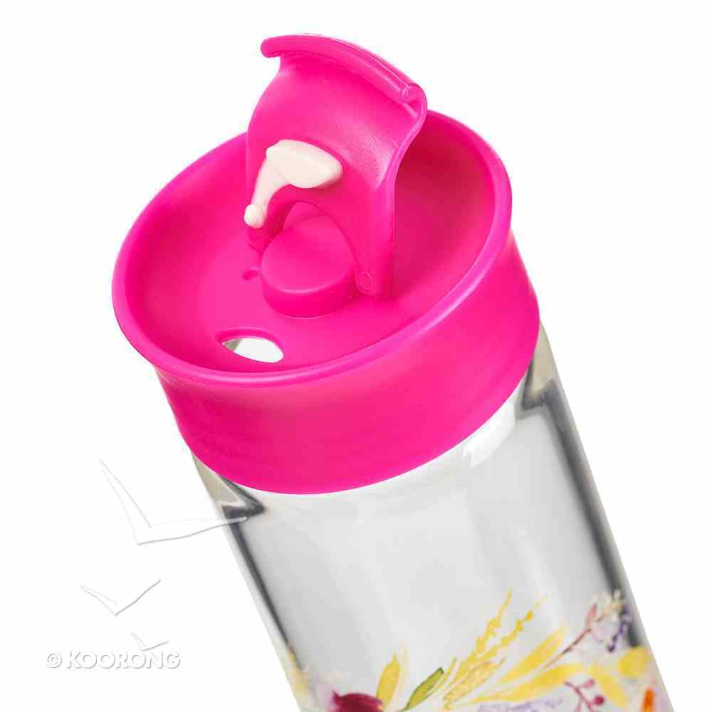 Water Bottle Clear Glass: I Know the Plans...John 4:14 Dark Pink/White (Colored Wreath) Homeware
