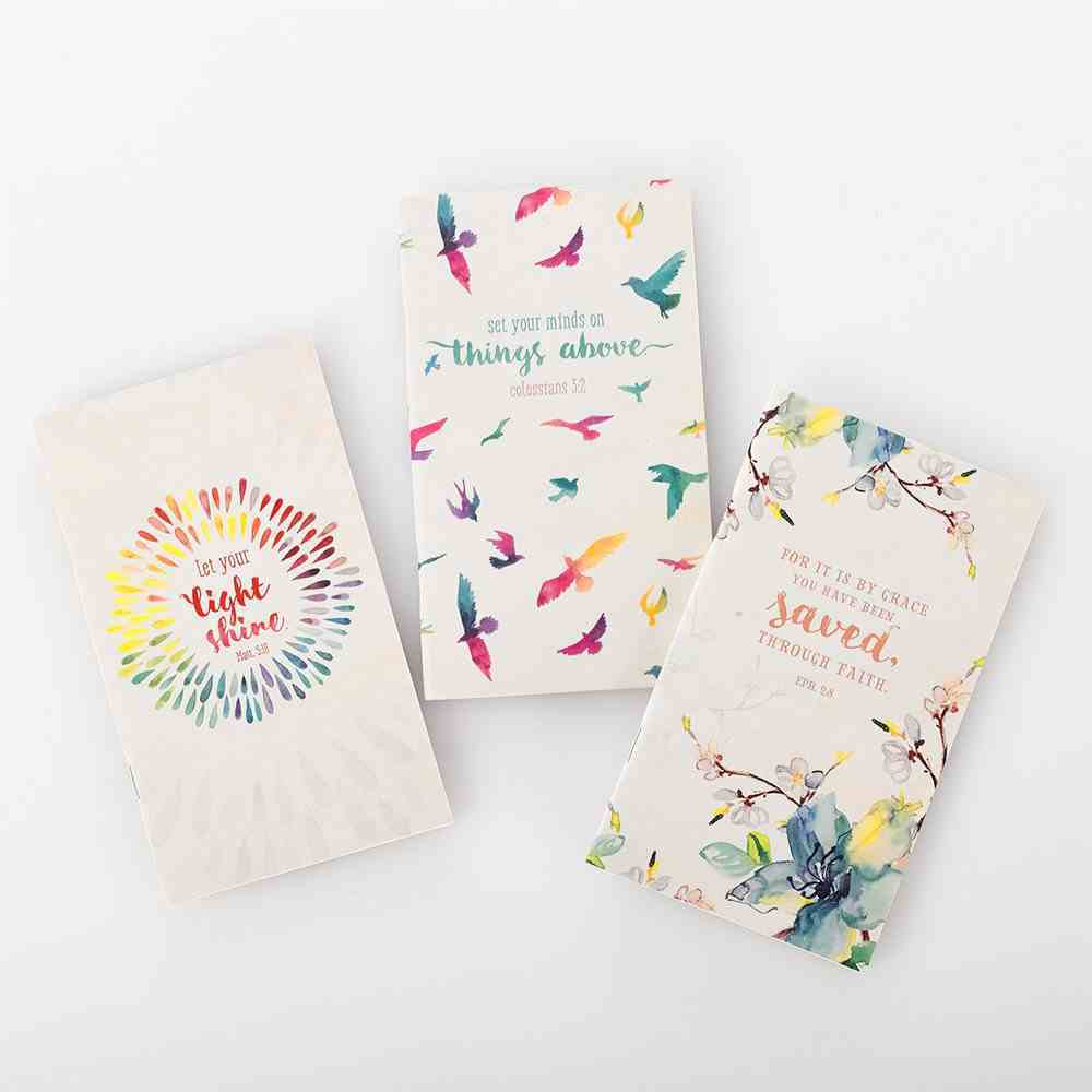Notebook: Flowers and Birds With Verses, White/Blue/Red (Set Of 3) Paperback