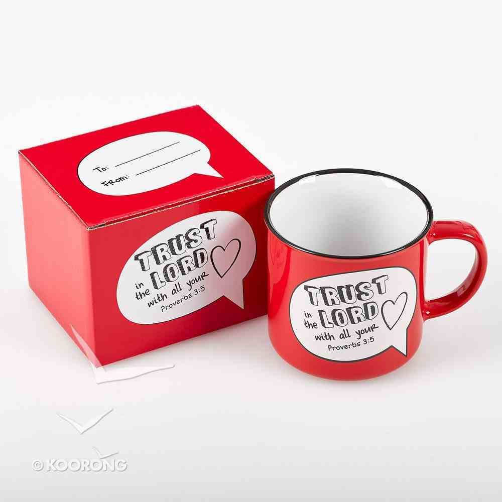Stoneware Mug: Trust in the Lord With All Your Heart Proverbs 3:5 (Red/white) Homeware