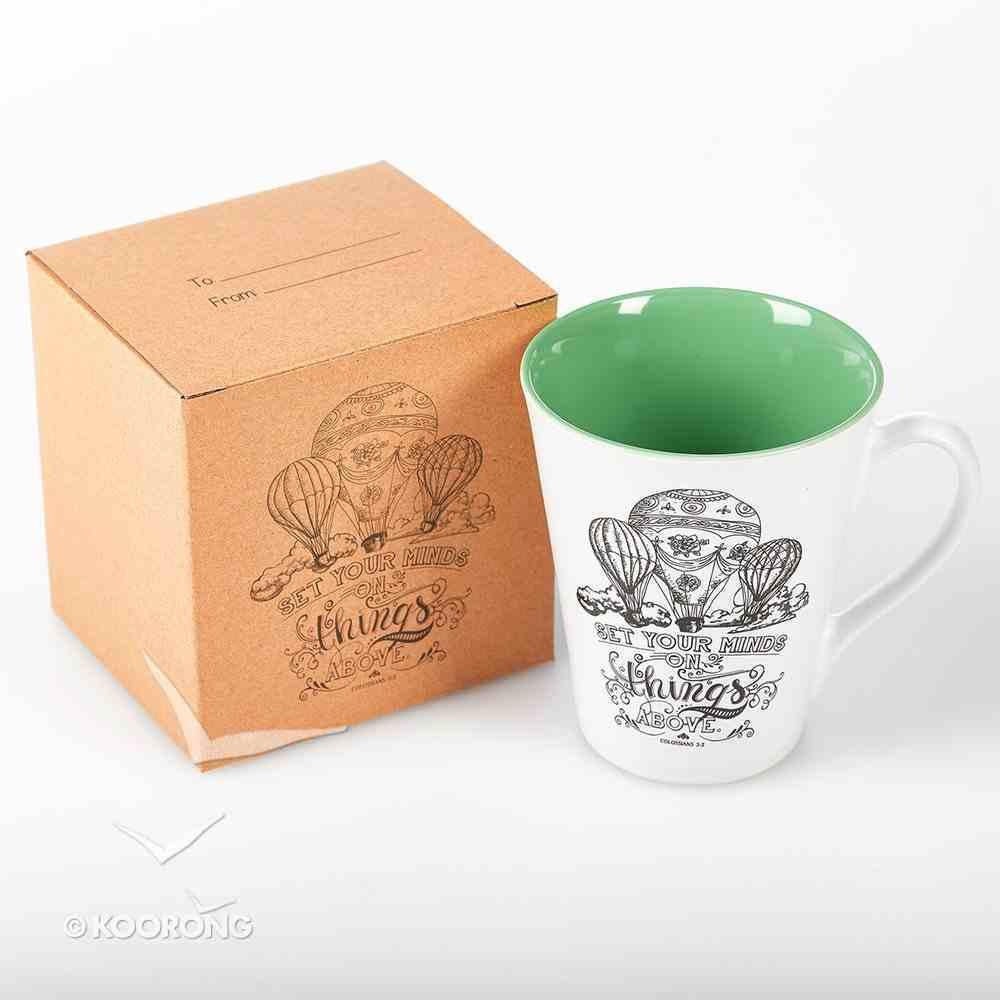 Stoneware Mug: Set Your Minds on Things Above (White/green) Homeware