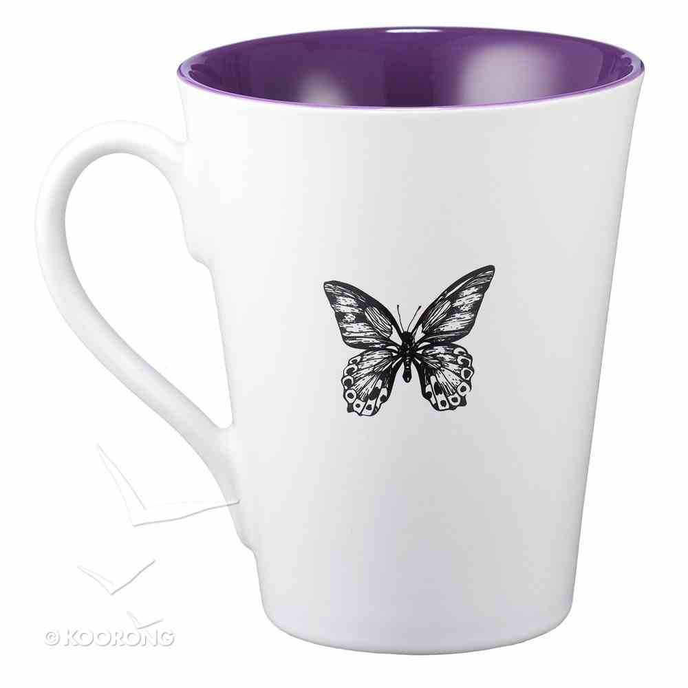 Stoneware Mug: I Have Written Your Name... (White/purple) Homeware