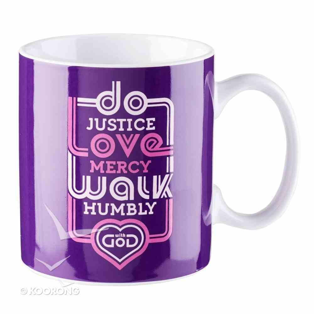 Ceramic Mug: Do Justice, Love Mercy, Walk Humbly... Micah 6:8 (Purple/pink) Homeware