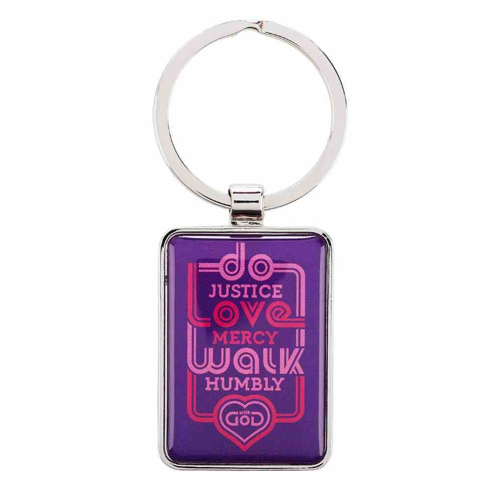 Metal Keyring: Do Justice, Love Mercy, Walk Humbly...Micah 6:8 (Purple/pink) Jewellery
