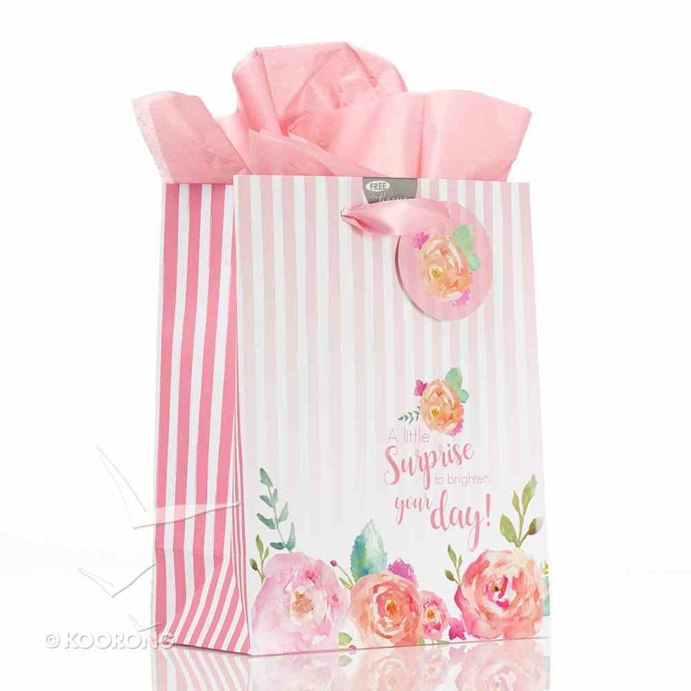 Gift Bag Medium: A Little Surprise.... Red/White Stripes With Roses (Incl Tissue Paper & Gift Tag) Stationery