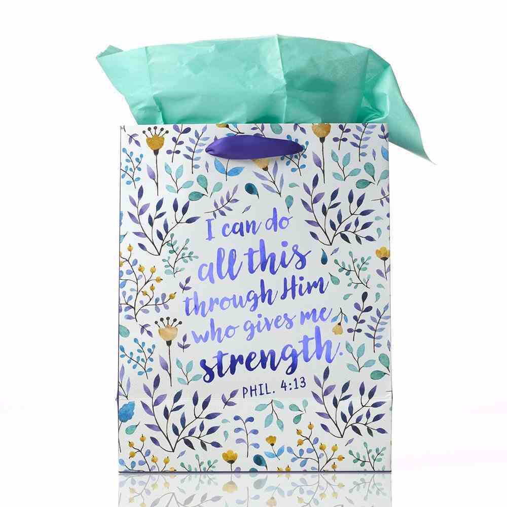 Gift Bag: I Can Do All This Through Him, Floral (Incl Tissue Paper & Gift Tag) Stationery