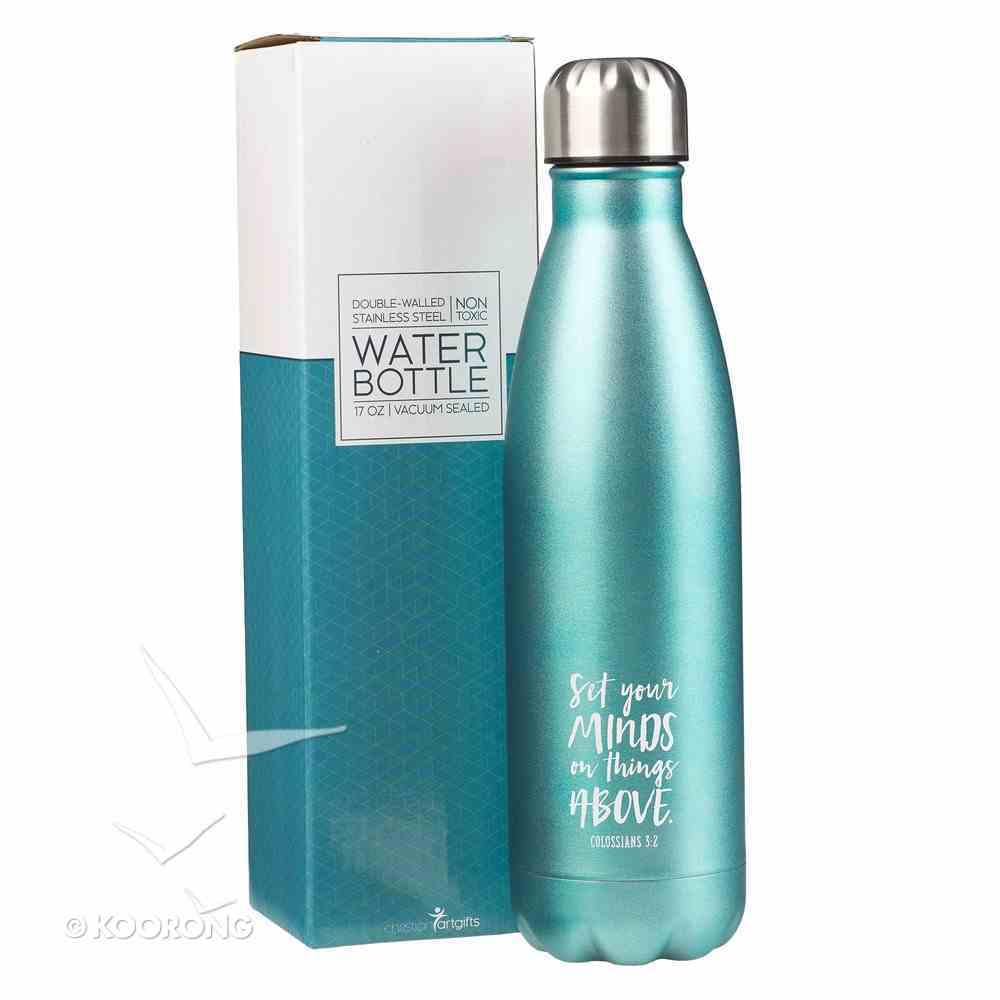 Water Bottle 500ml Stainless Steel: Metallic Green - Set Your Minds on Things Above (Vacuum Sealed) Homeware