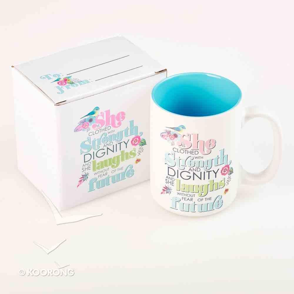 Ceramic Mug: She is Clothed With Strength.... (Blue/white) Homeware
