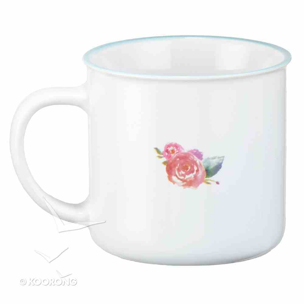 Ceramic Watercolor Mug: Live By Faith, Blue With Flower (White/blue) Homeware