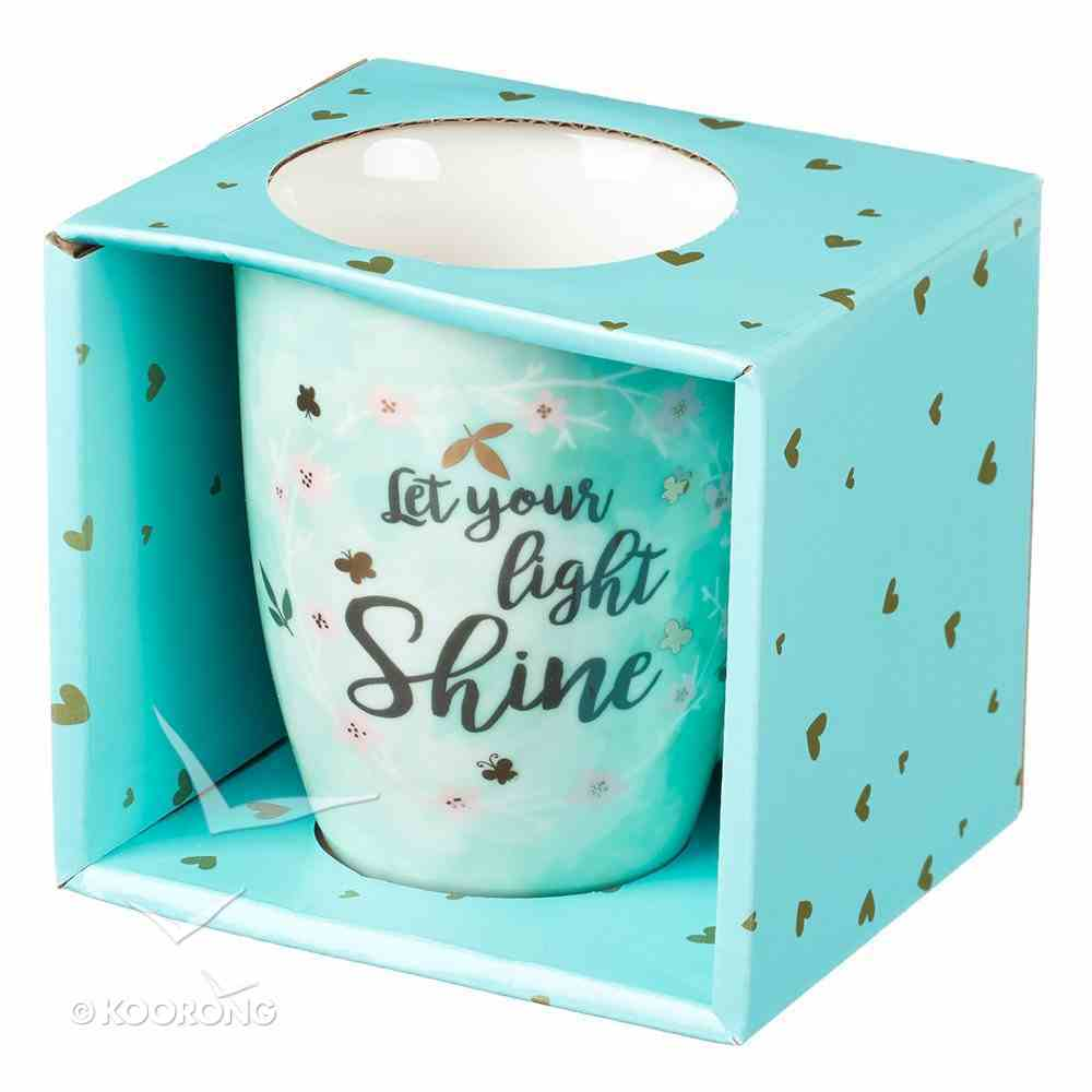 Ceramic Sparkle Mug: Let Your Light Shine...Light Blue/Floral Wreath (325ml) Homeware