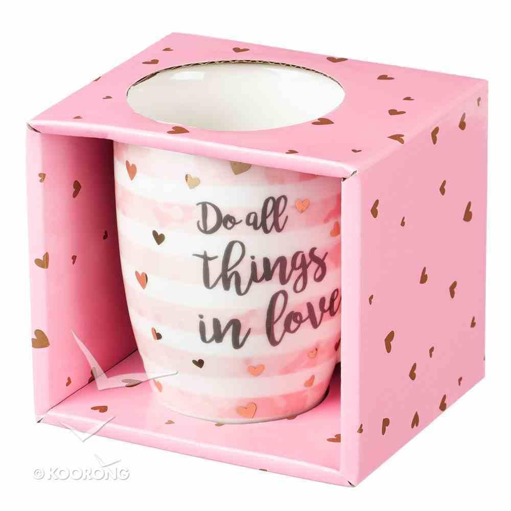 Ceramic Sparkle Mug: Do All Things in Love....Stripes/Hearts (325ml) Homeware