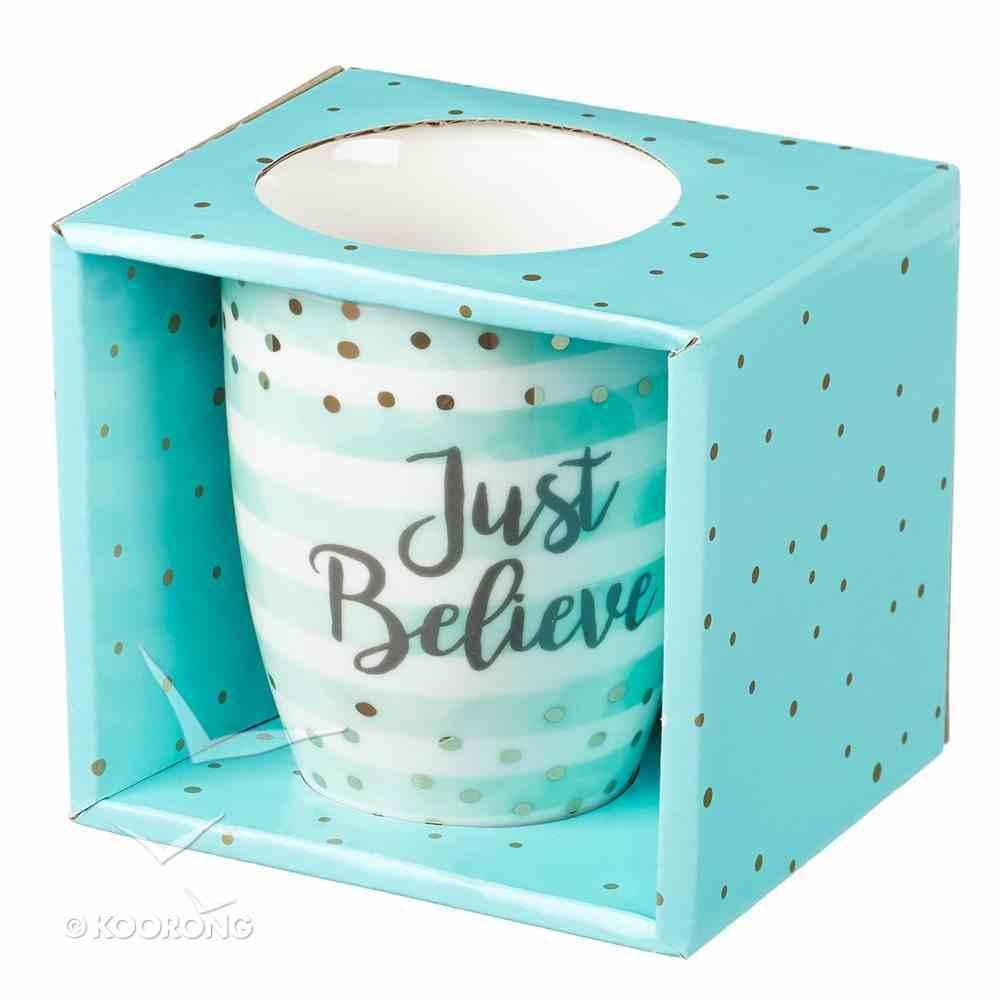 Ceramic Sparkle Mug: Just Believe Turquoise/Stripes (325ml) Homeware