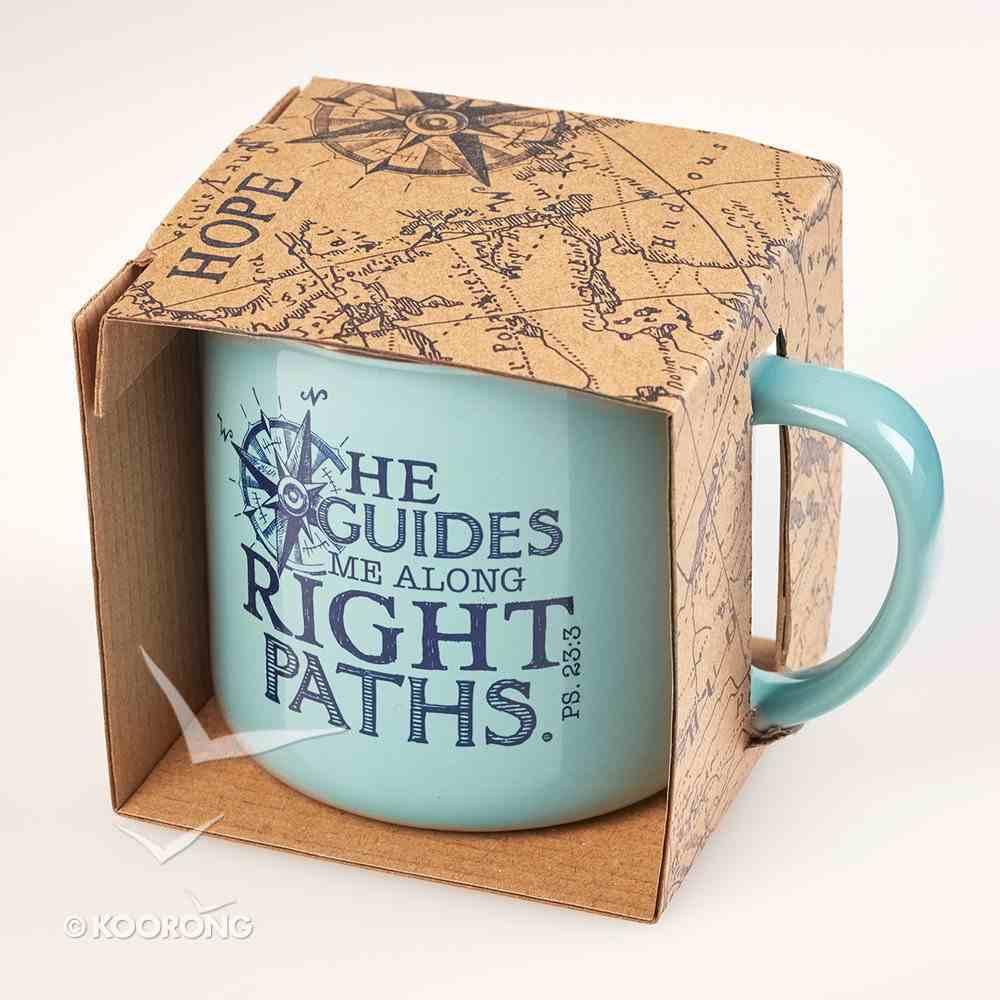 Ceramic Mug: Travel Range, He Guides Me Along Right Paths (Light Blue) Homeware