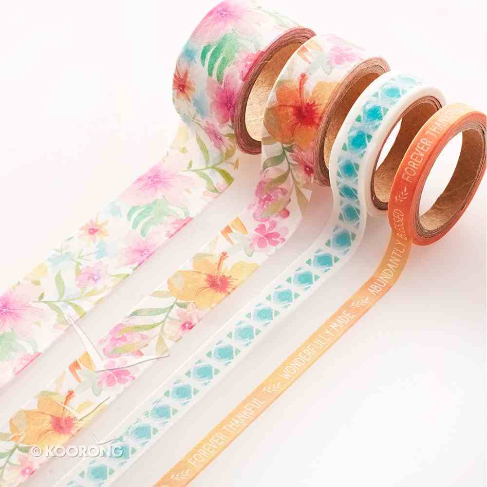 Washi Tape Set of 4 Rolls: Forever Thankful, Wonderfully Made, Blue Floral Stationery