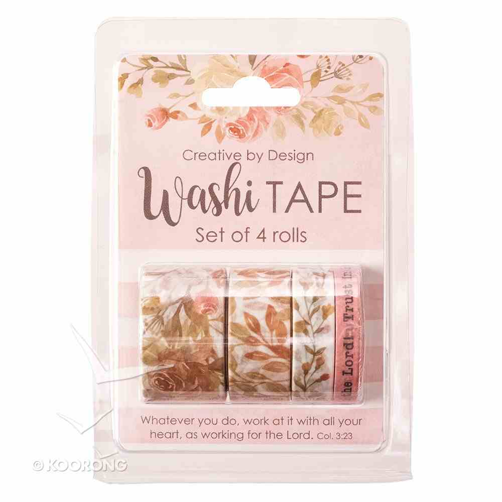 Washi Tape Set of 4 Rolls: Rejoice in the Lord! Trust in Him, Pink Floral Stationery
