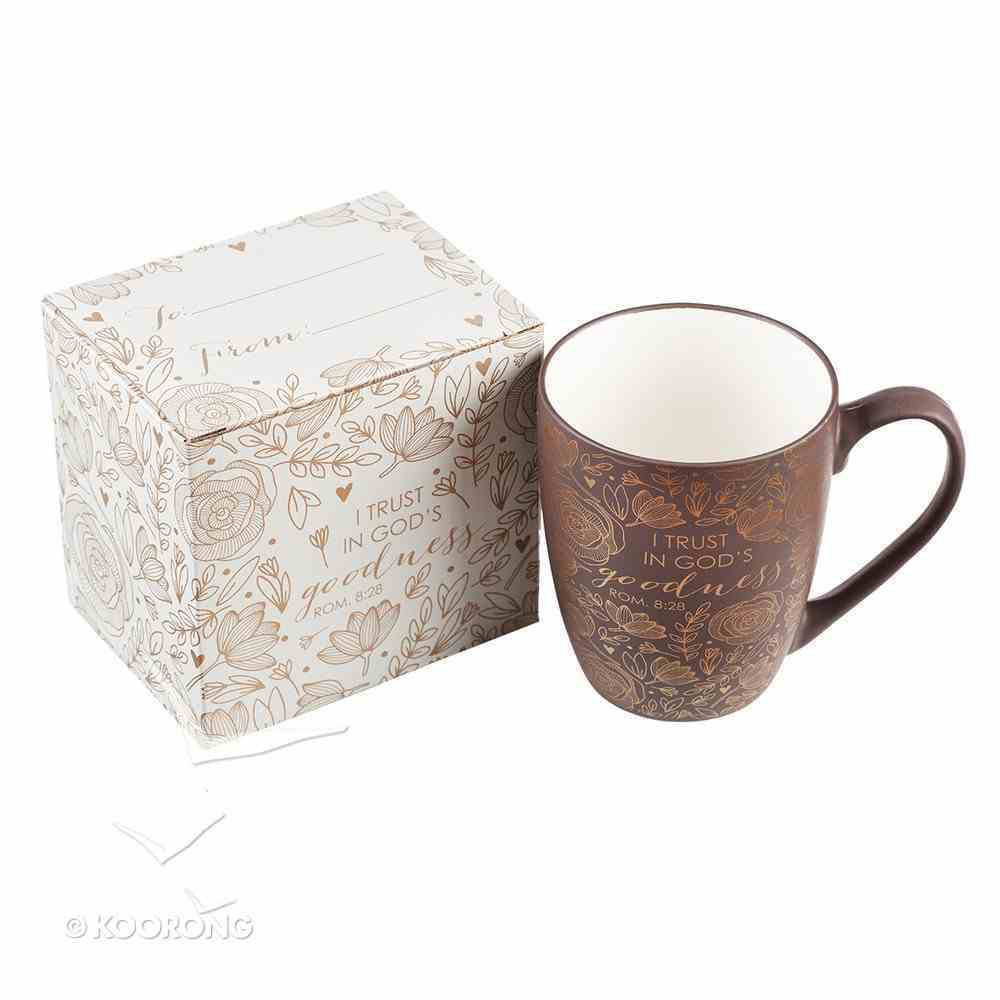 Ceramic Mug: I Trust in God's Goodness, Brown With Etching (355ml) Homeware