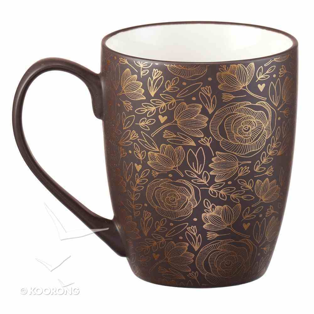 Ceramic Mug: I Trust in God's Goodness, Brown With Etching Homeware