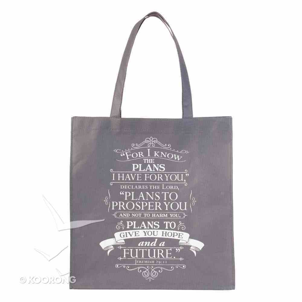 Non-Woven Totebag: For I Know the Plans, Gray/White (Jer 29:11) Soft Goods
