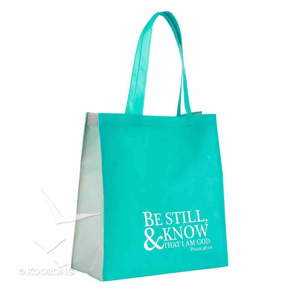 Tote Bag: Be Still and Know, Teal/White, Psalm 46:10 Soft Goods