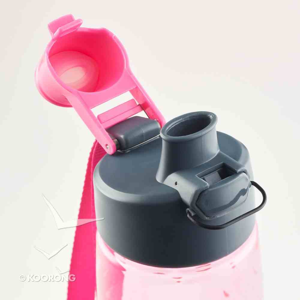 Plastic Water Bottle: Do All Things in Love (Pink/white Hearts) Homeware