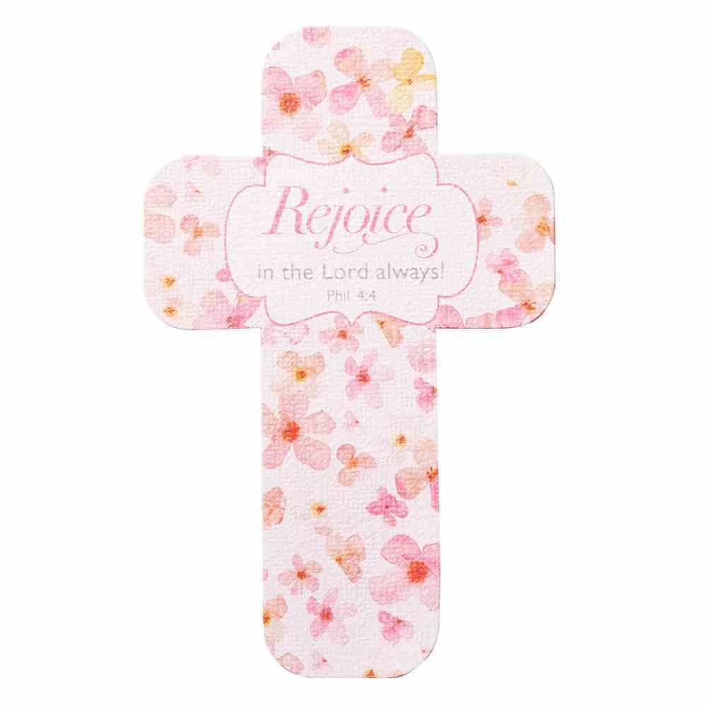 Bookmark Cross-Shaped: Sing For Joy, Rejoice (Pale Orange/floral) Stationery