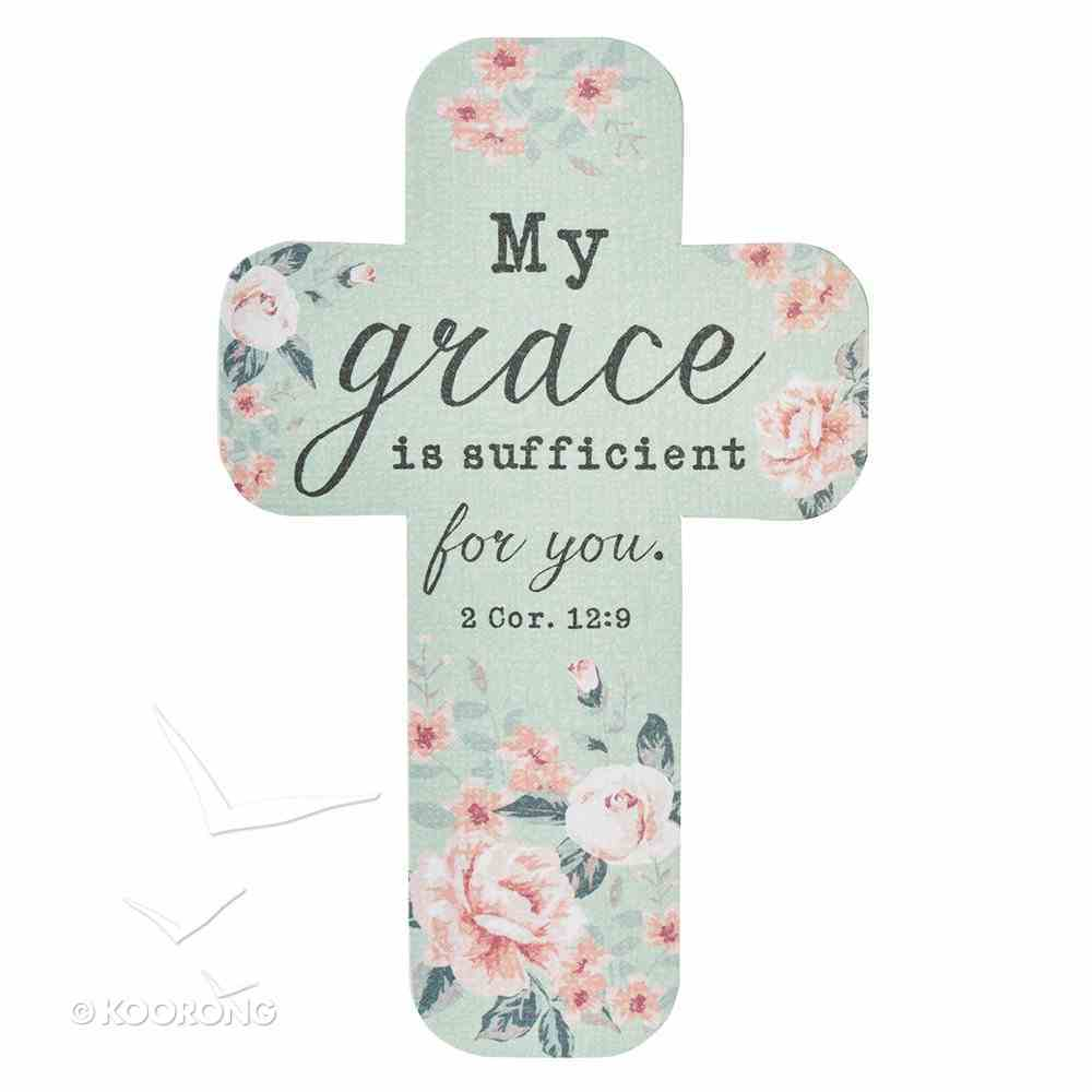 Bookmark Cross-Shaped: My Grace is Sufficient For You.. 2 Cor 12:9, Green/Pale Pink Roses Stationery