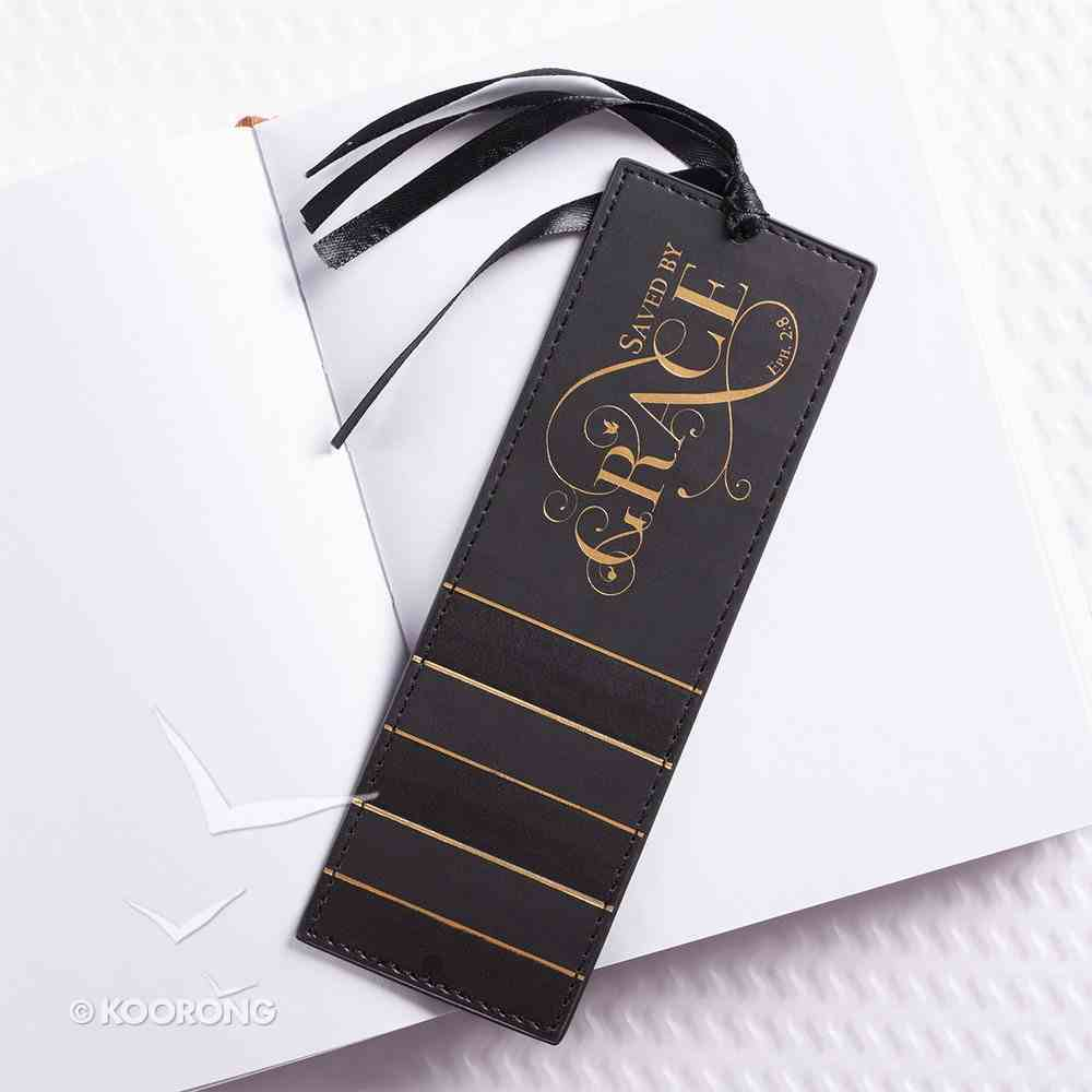 Bookmark With Tassel: Saved By Grace, Black/Gold Stationery