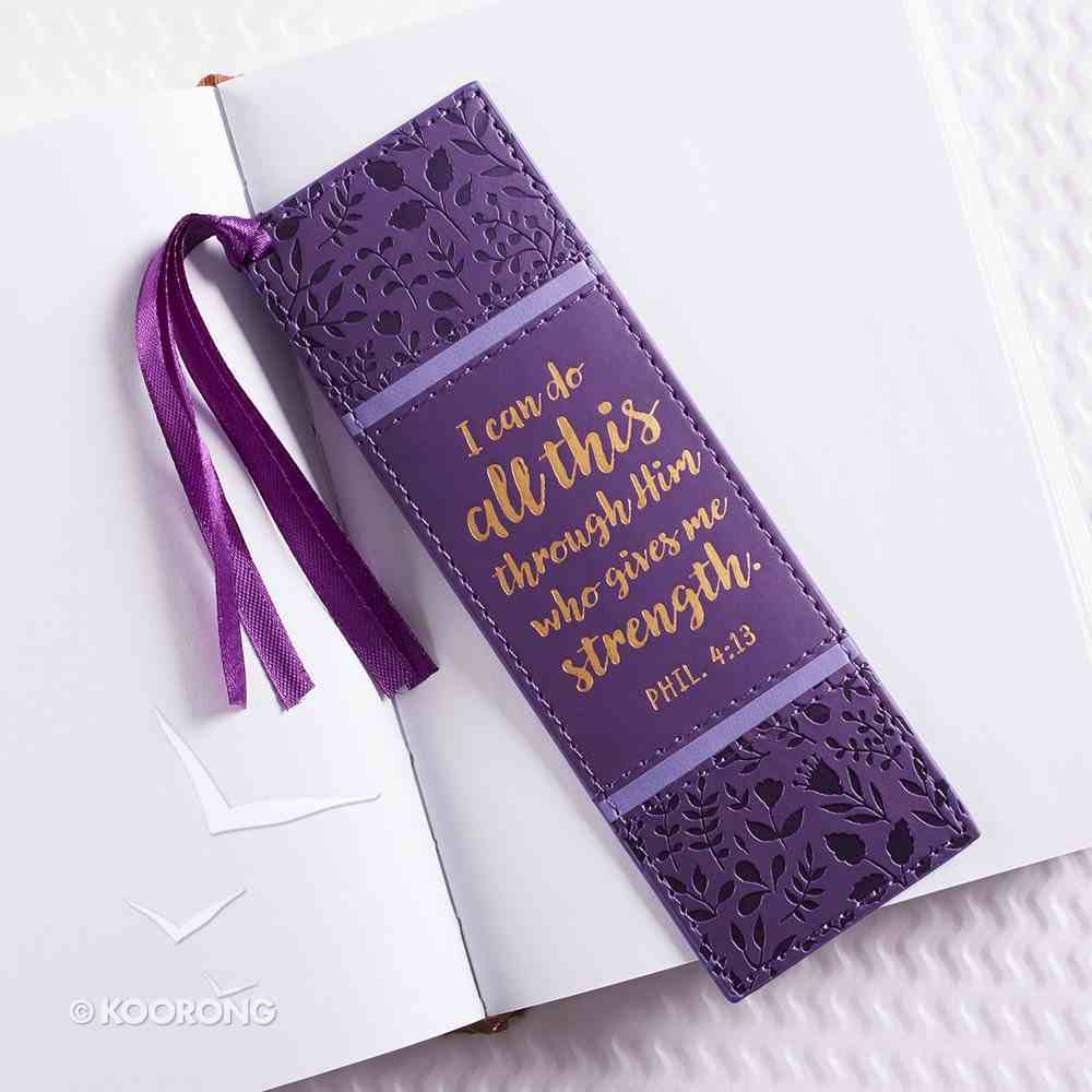 Bookmark With Tassel: I Can Do All Things, (Purple/floral) Stationery