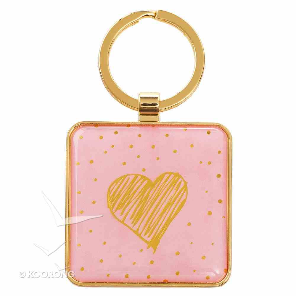 Metal Sparkle Keyring: Live a Life of Love... (Pink/ Gold Dots; Gold Love Heart On Back) Jewellery
