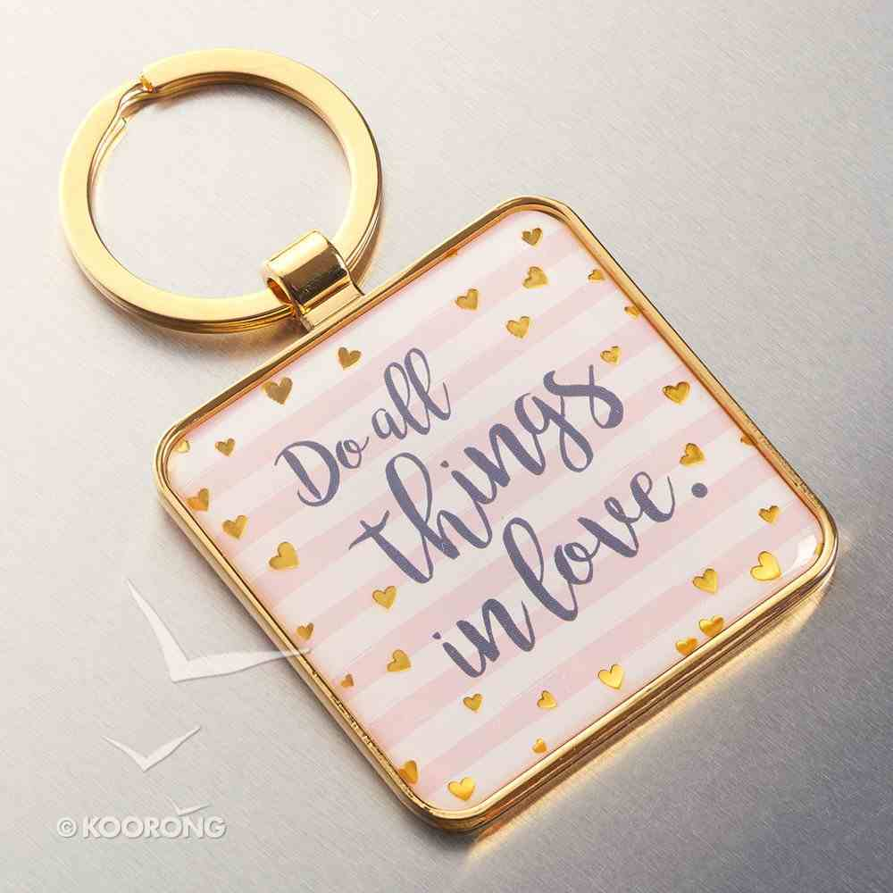 Metal Keyring: Do All Things in Love... (Pink/white Stripes & Hearts) Jewellery