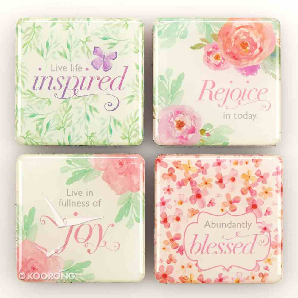 Magnetic Set of 4 Magnets: Sing For Joy (Green Floral) Novelty