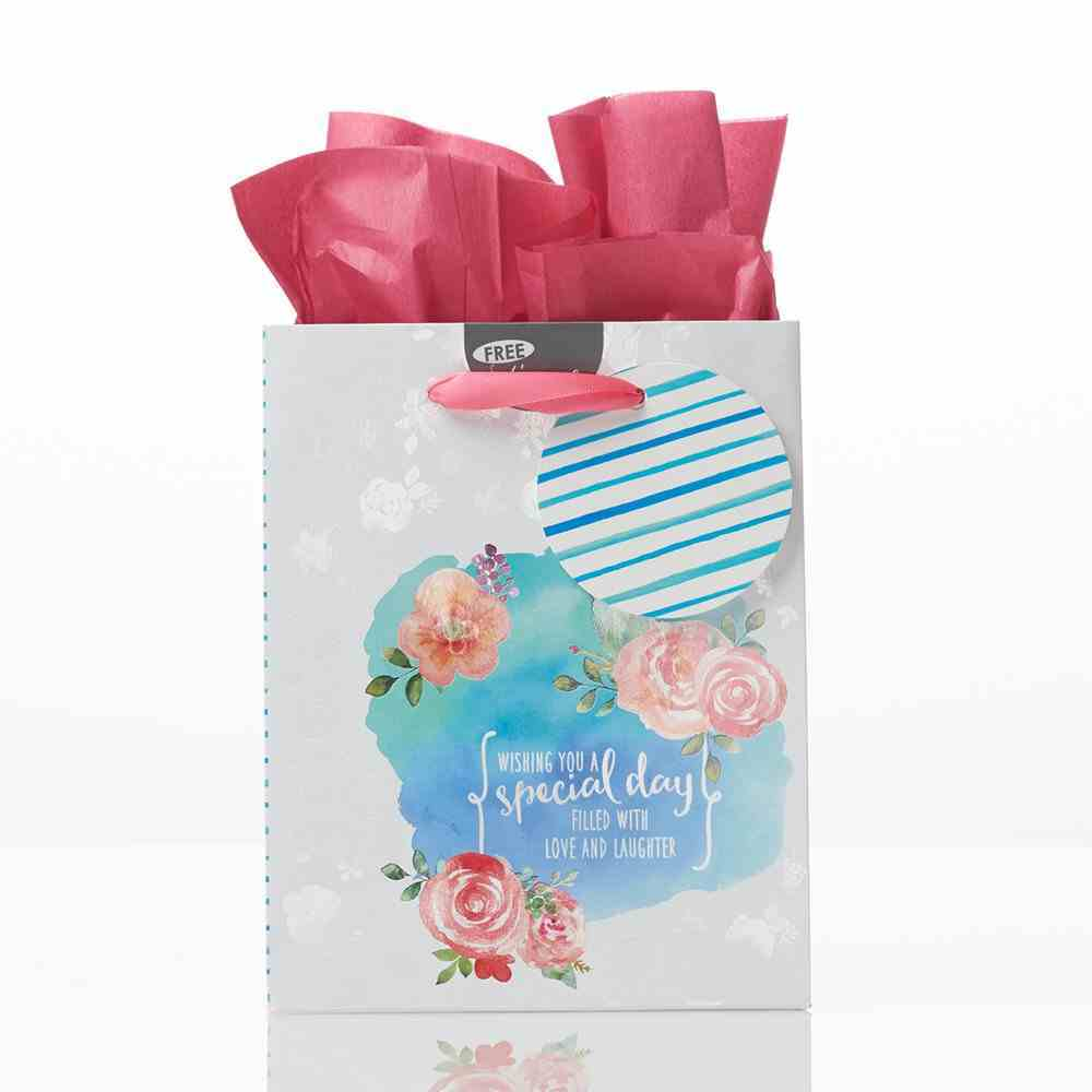 Gift Bag Small: Special Day Blue With Roses (Incl Tissue Paper & Gift Tag) Stationery