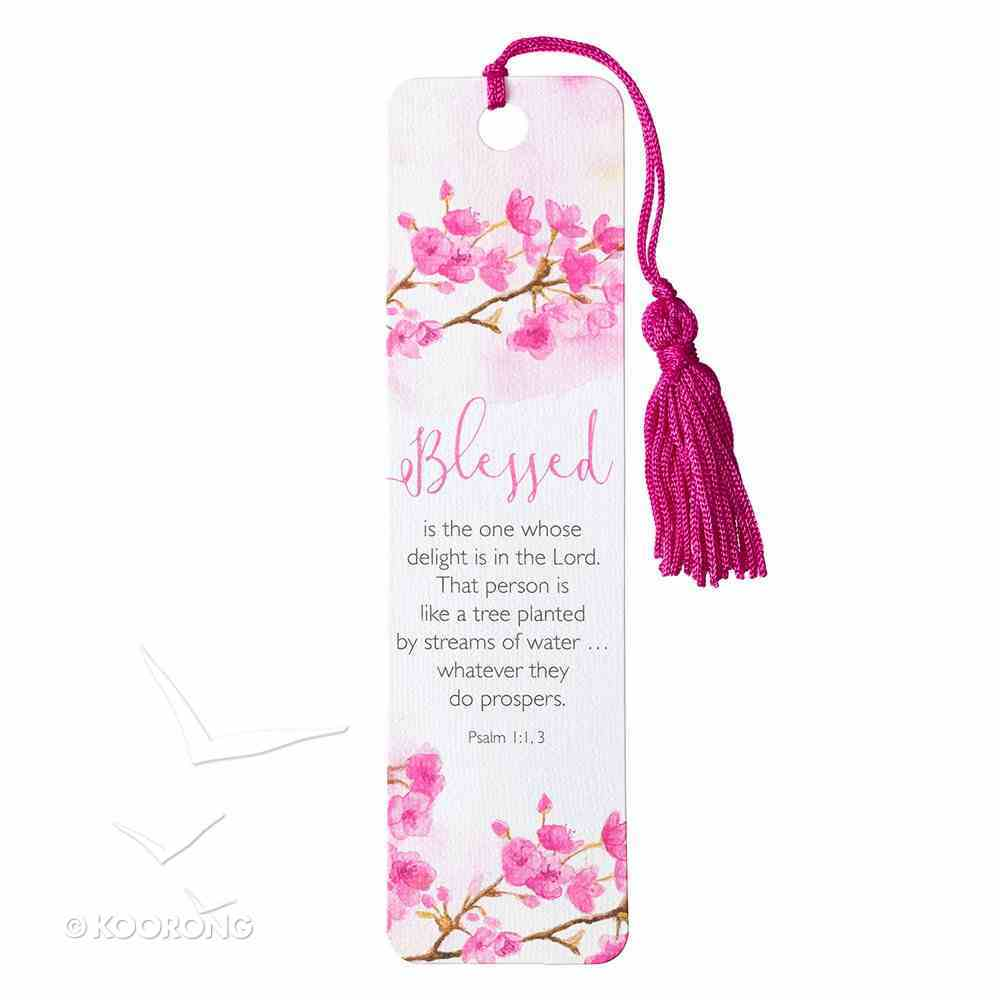 Bookmark With Tassel: Blessed (Pink Floral) Stationery