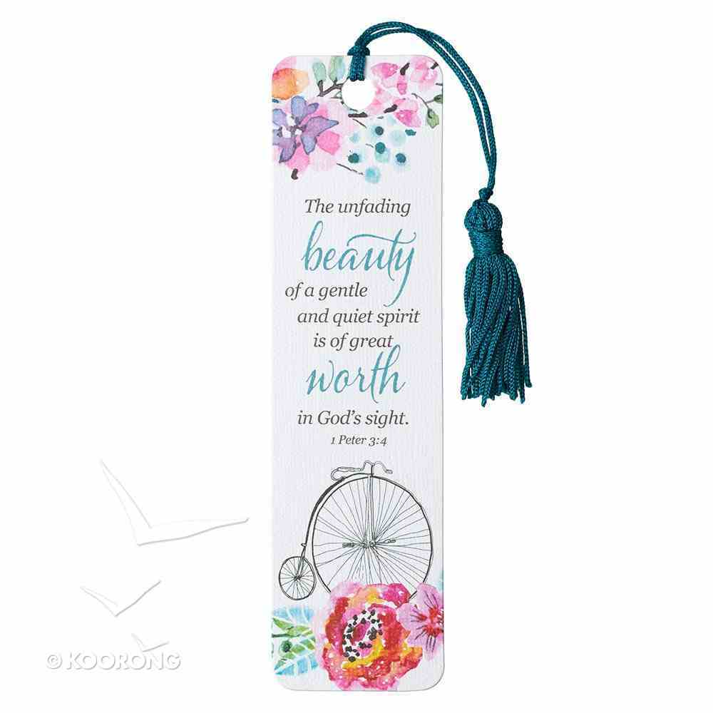 Bookmark With Tassel: The Unfading Beauty of a Gentle and Quiet Spirit... (Penny-farthing And Flowers, Teal) Stationery